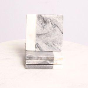 Other - Marble Coaster Set Of 4 White & Grey